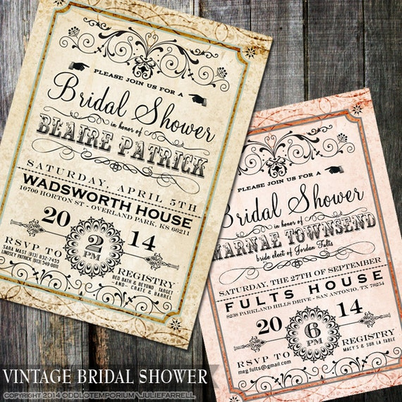 Fancy Bridal Shower Invitation - Digital or Printed - Fancy Vintage Wedding Shower Invite 5x7 Choose Border Color