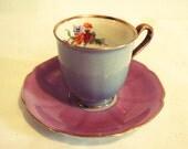 SALE - PT Bavaria Tirschenreuth Germany Demitasse Pink Purple Floral 14K Gold Cup Saucer Set