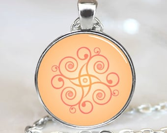 Decorative Spirals Abstract Art Handcrafted  Necklace Pendant with Ball Chain Included(PD0268)