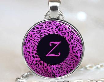 Letter Z - Purple Leopard Print Monogram Handcrafted  Necklace Pendant (PD104)