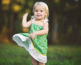 Girls Sun Dress / 'Dandelion Fields' / Grass Green with Yellow Flowers / 12 month - 6 years