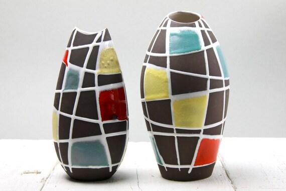 Schlossberg kuba pair of vases west german pottery for Mondrian vase