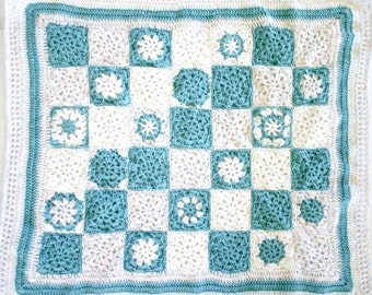 Turquoise Crochet Baby Blanket, Aqua White- Newborn Crib Bedding- Granny Squares- Stroller Blanket-  Hand Crocheted Afghan, Ready To Ship