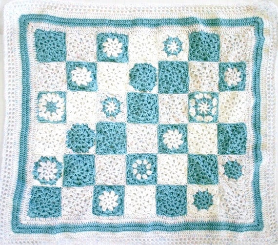 Turquoise Crochet Baby Blanket, Aqua White- Newborn Crib Bedding- 42 Granny Squares- Stroller Blanket-  Hand Crocheted Afghan, Ready To Ship