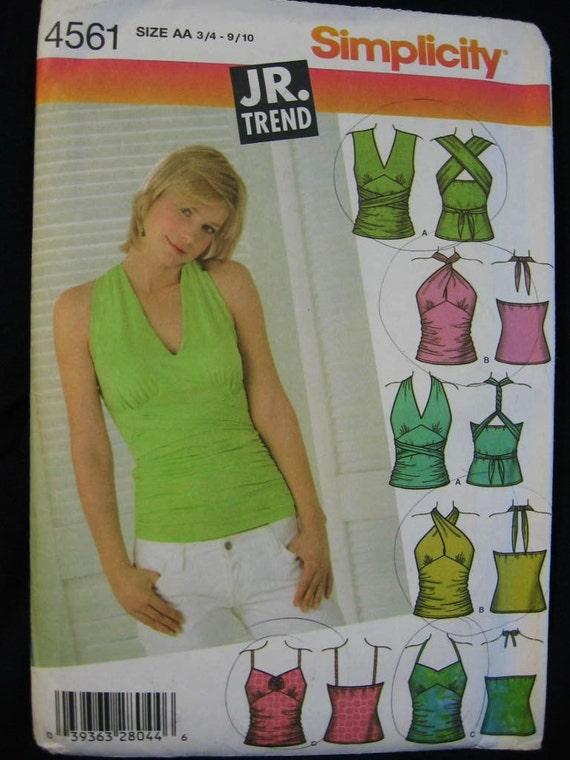 Simplicity Jr Trend Halter Convertible Top Shirt Pattern 4561
