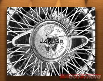 Jaguar Wheel Art, Boyfriend Gift, Car Art, Jaguar Car, Jaguar XKE, Car Photography, Wire Wheels, Automobile Art, Automotive Art