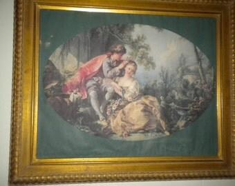 Lovely Vintage French/Victorian Framed Print, Victorian Decor, French Decor, French Boudoir