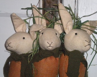Cute Set of 3 Primitive/Country/Eclectic Easter Carrot Bunnies