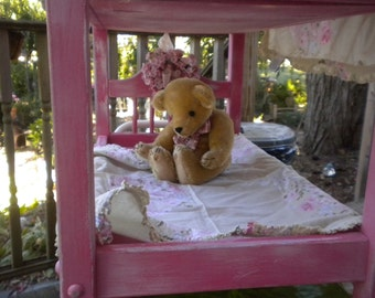 Little Girl's American Doll OOAK Bunk Bed, Pink and white Baby Doll Bed,, Cherub Headboard, Doll Furniture