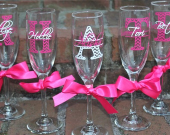 3 Personalized Chevron Champagne Flute with Name - Great Bridesmaid Gift
