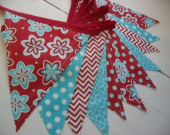 Fabric Banner, Red and Aqua Blue Banner, Bunting Banner, Photo Prop, Wedding, Nursery Decor, Red, Aqua Blue, Dots, Chevrons, Ready to Ship!