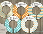 Baby Joshua Orange and Teal Baby Closet Organizing Dividers - Assembled