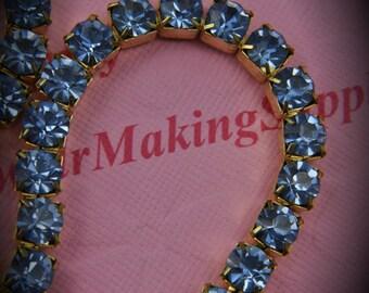 Genuine Brass Swarovski Crystal Rhinestone chain in 29ss Light Sapphire