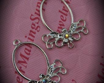 Genuine Silver Plated Swarovski Crystal Oval Chandelier Earrings In Clear AB