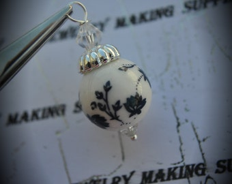 Hand Wire Wrapped Swarovski Crystals Dangle Charms on Silver Plated Ball End Headpin And Clay Blue Floral Beads