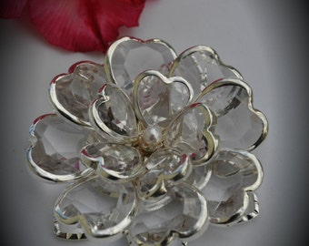Large Silver Plated Clear Flower Pendant With Crystals And Pearl