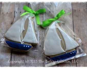 Decorated Sailboat Nautical Shortbread Sugar Cookie Favors Navy, White, Lime Green