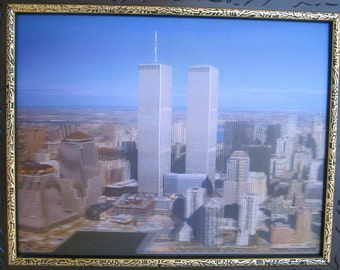 """Beautiful Vintage  3D 15"""" x 12"""" Picture of New York City Twin Towers  in Wood Frame"""