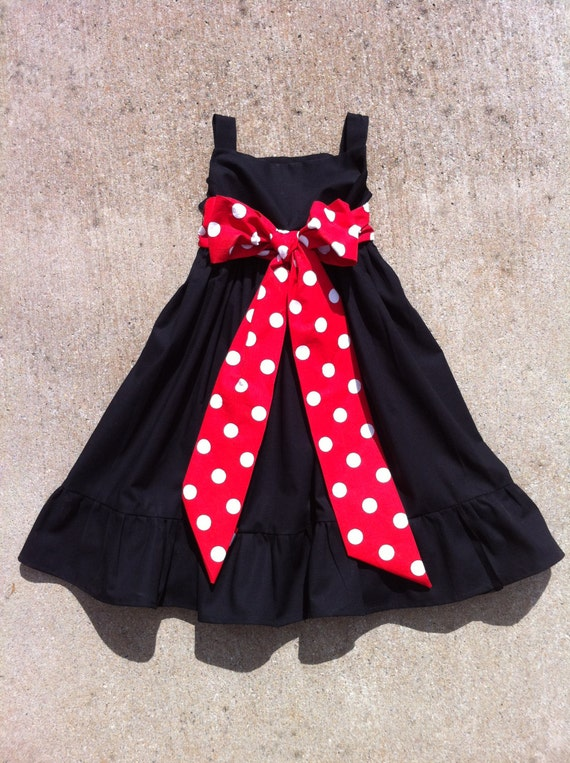 Girls little christmas dress with ruffle detail black cotton with red