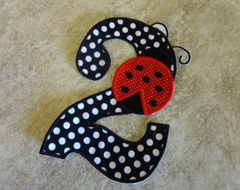 Ladybug Iron on Birthday applique patch- Number 2