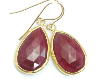 Red Ruby Earrings Teardrop Vermeil Bezel Faceted Setting Dangle 14k Gold Filled French Earwires Simple Pear Shaped Basic Drops AAA