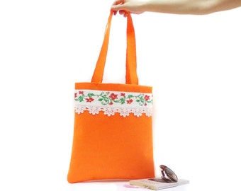 BIG SALE, Neon bag, Tote Bag, Cross stitch bag, Orange felt, Vintage Style bag
