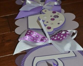 Cupcake Happy Birthday Banner Purples, Light Purples, White polka dot