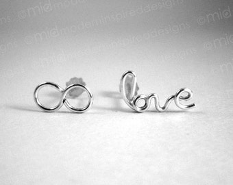 Eternal Love - Stud Earrings - Sterling Silver - 925 - Christian Jewelry - Infinite Love - Infinity Jewelry - Wire Word - Wire Wrap - Post