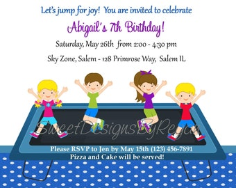 Trampoline Birthday Invitation -  (Digital File) / Trampoline Party Invitation, Jumping Birthday Invitation