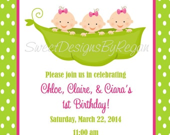 Triplet Birthday Invitation - (Digital File)