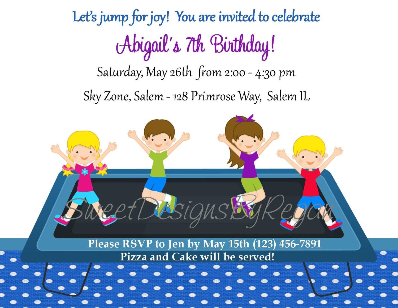 trampoline birthday invitation digital file