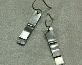 Fold Formed Sterling Silver Earrings, Dangle Earrings, Fold Formed Earrings, Silver Bar Earrings, Industrial Earrings