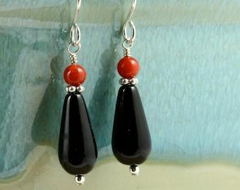 Onyx and Coral Earrings with Sterling Silver, Southwestern Earrings, Southwestern Jewelry, Black Earrings, Red Earrings