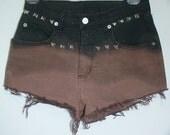 Black Bleach Dip Dyed High Waisted Shorts