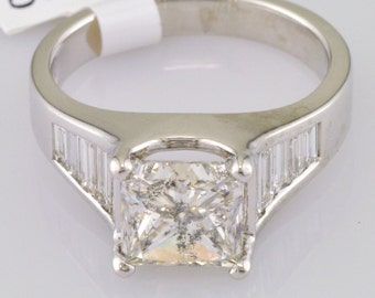 Antique Style Princess Baguette Diamond Engagement Ring 3.59 CT I-J SI2 Platinum