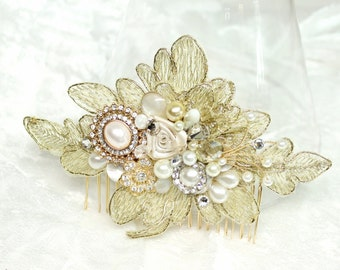Gold Lace Hair Comb-Gold Bridal Hair piece-Gold Lace Bridal Comb-Pearl Bridal Comb- Gold Hair accessories-Vintage Inspired Bridal Hair Comb-