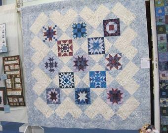 Blue and cream  queen  Sampler quilt