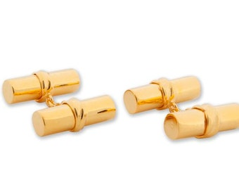 Solid Silver Gold Plated Cylinder Double Cufflinks--Large Solid Cylinders 925