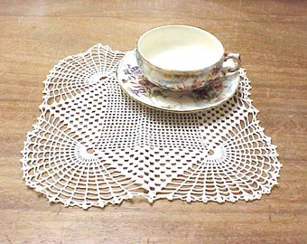 Pretty Vintage Square Shaped Ivory Colored Crochet Doily