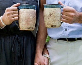 Woodland Personalized His and Hers Ceramic Coffee Mugs- Couple Wedding