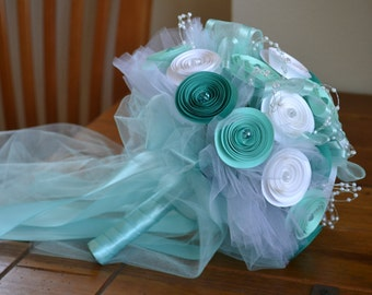 Wedding Bouquet - Mint green and turquoise with white - ready to ship