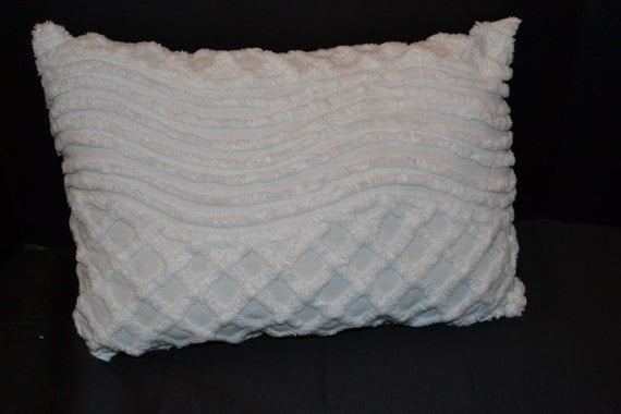 Vintage Chenille Handmade Pillow Shabby Chic One of a Kind