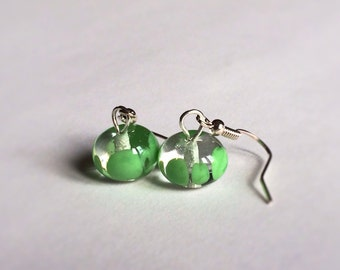 minimalist transparent and green lampwork glass earrings