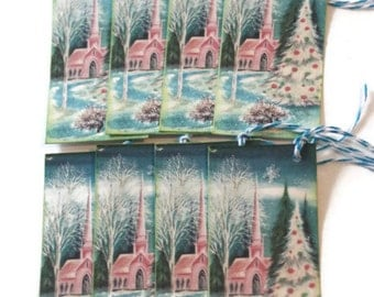 Christmas Tags Gift Retro Vintage Inspired Church Pink Shabby Set of 8