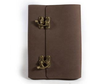 Refillable Leather Journal With Lock, Sketchbook, Blank and Lined Notebook, Diary, Book Cover, Nubuck, A5, With Gift Box