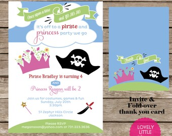 DIY Pirates and Princesses Birthday Invitation Kit - Invite AND Thank You Card included