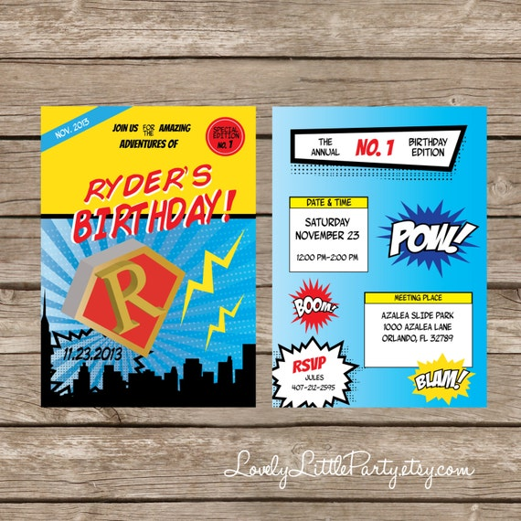 DIY Printable Super hero Birthday Invitation - Lovely Little Party