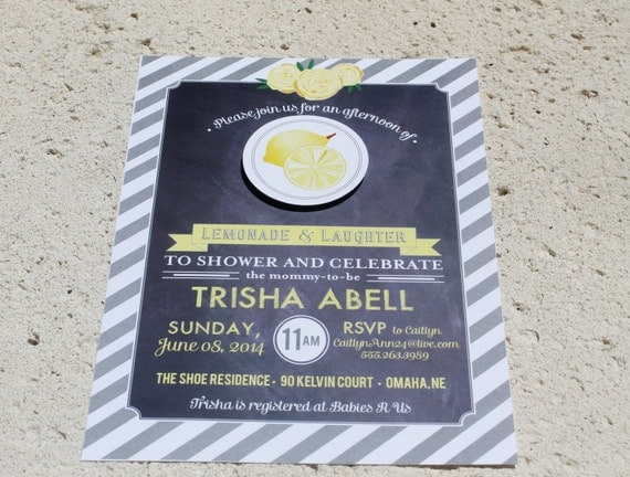 Printable 2 Piece Lemonade Themed  Baby Shower Invitation - Lovely Little Party