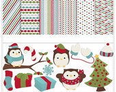 Christmas Owls - Personal Use / S4H / S4O Digital Clip art and Paper Pack - Instant Download