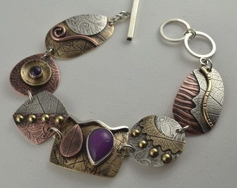 Purple Jade Bracelet -Mixed Metal Bracelet -  Metalsmith Bracelet